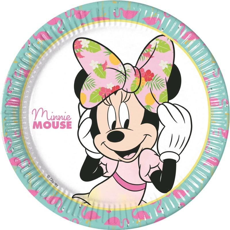 16x Disney Minnie Mouse tropical themafeest bordjes 23 cm