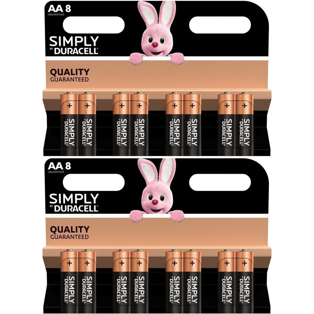 16x Duracell AA Simply batterijen alkaline LR6 MN1500 1.5 V