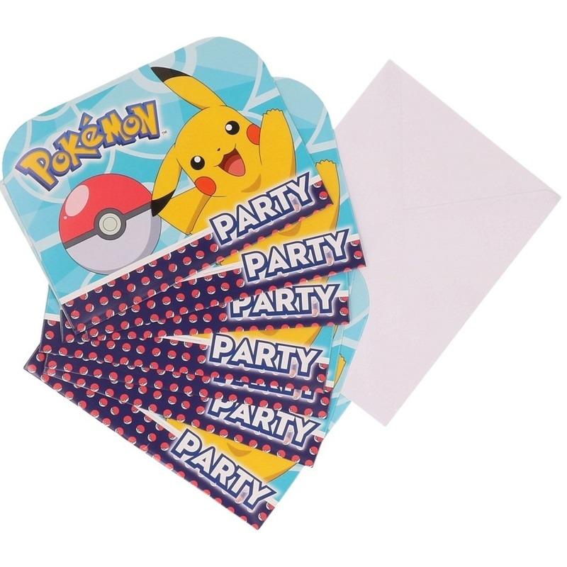 16x Pokemon themafeest uitnodingen/kaarten