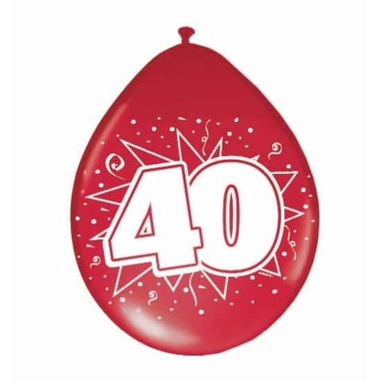 16x Rode ballonnen 40 jaar jubileum thema