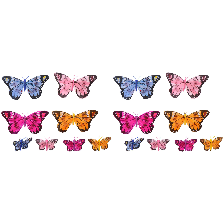 Merkloos 16x stuks decoratie vlinders op clip gekleurd 5 en 12 cm -