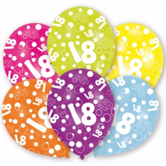 18 jaar thema leeftijd ballonnen 6x stuks