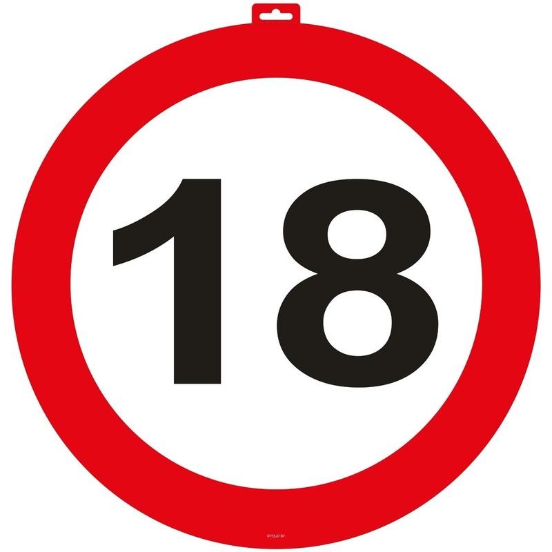 18 Jaar verkeersbord deurbord 47 cm