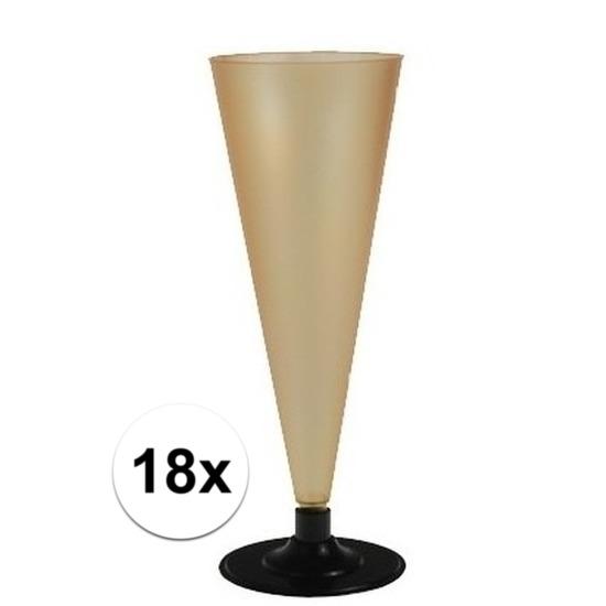 18 x Champagne glazen goudkleurig Goudkleurig