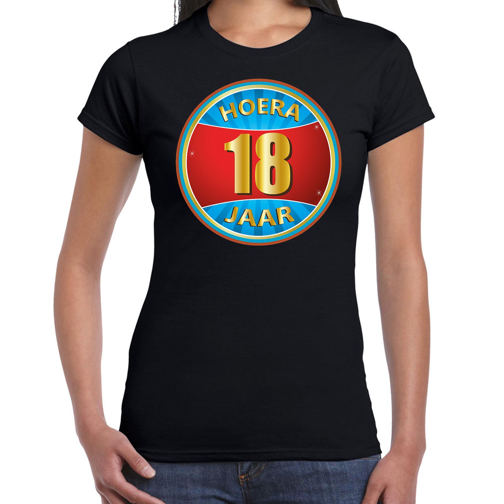 18e verjaardag cadeau t shirt hoera 18 jaar zwart voor dames