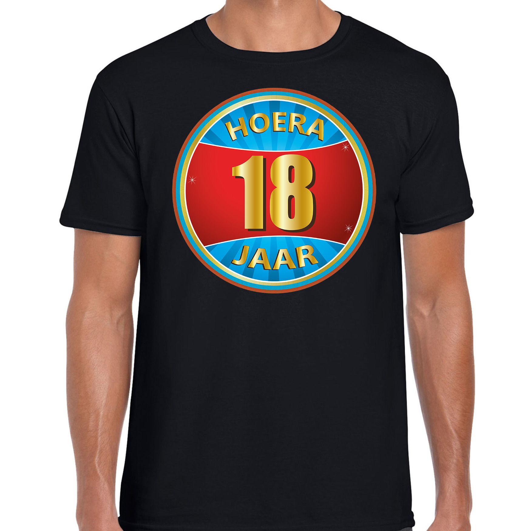 18e verjaardag cadeau t shirt hoera 18 jaar zwart voor heren