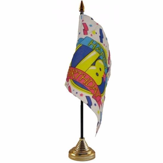 18e verjaardag tafelvlaggetje 10 x 15 cm met standaard