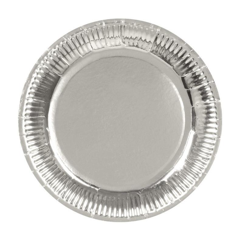 18x Zilveren feest borden van karton 23 cm