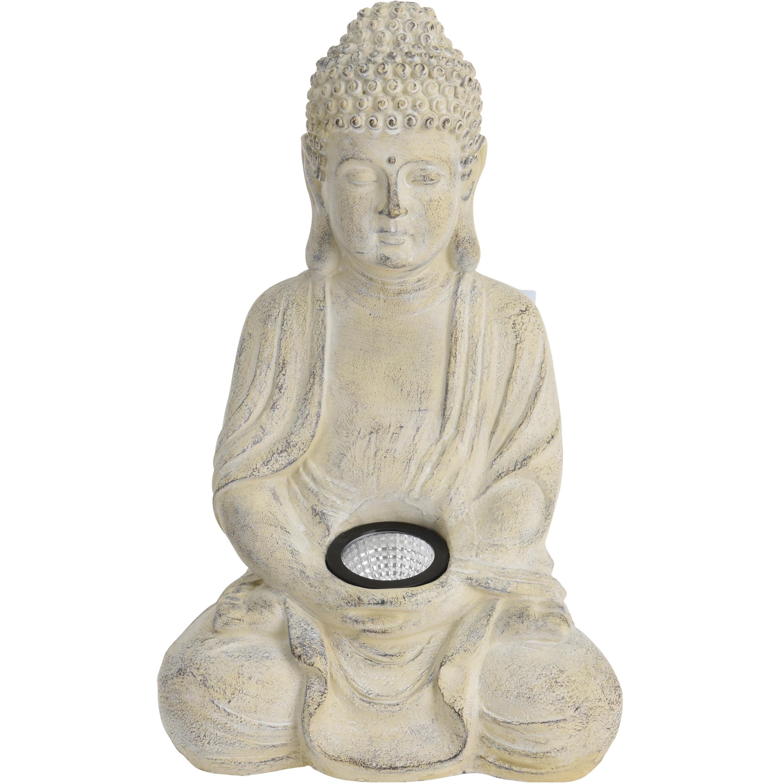 1x Boeddha tuinbeeld creme met solar verlichting op zonne-energie 33 cm - Tuinbeelden