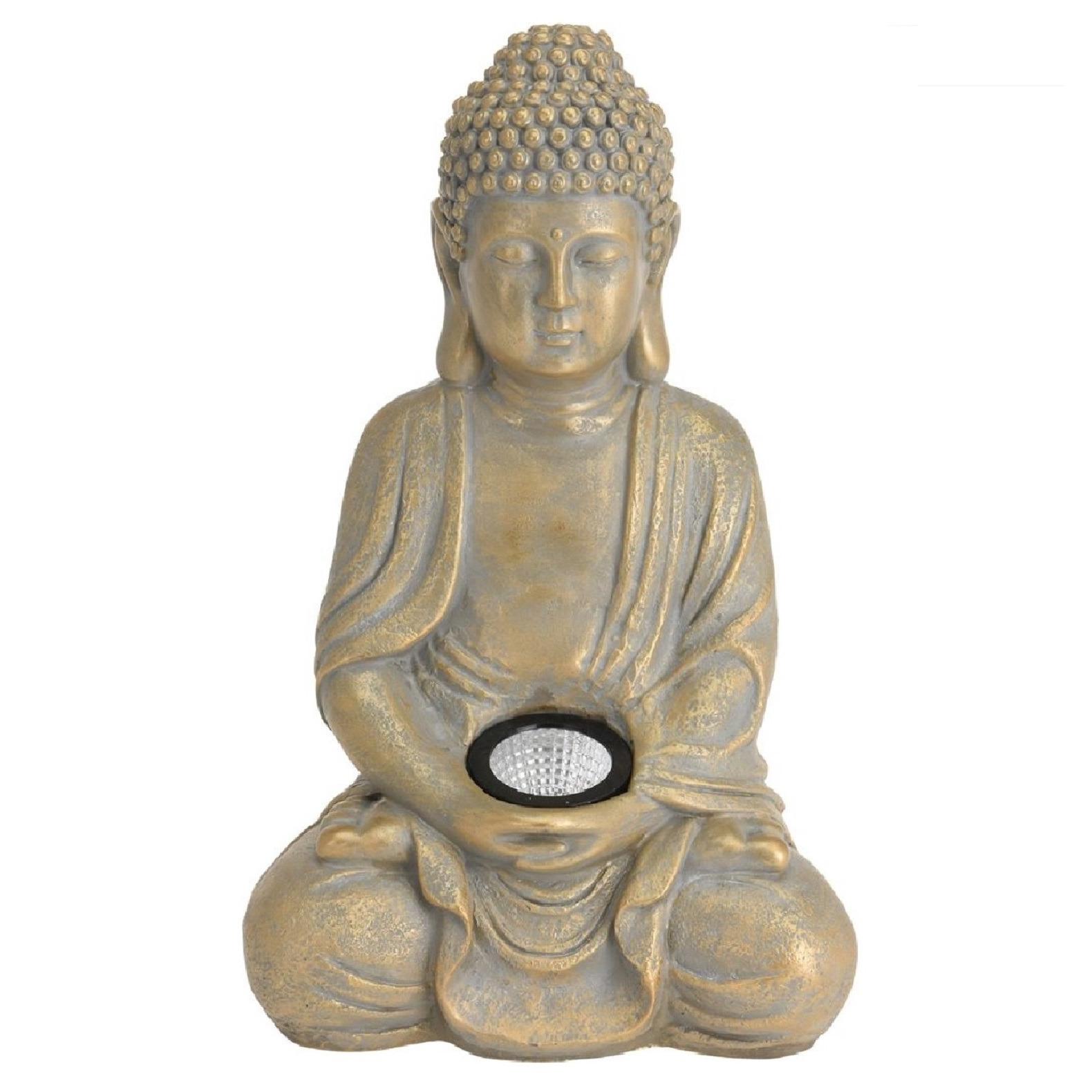 1x Boeddha tuinbeeld goud met solar verlichting op zonne-energie 33 cm - Tuinbeelden