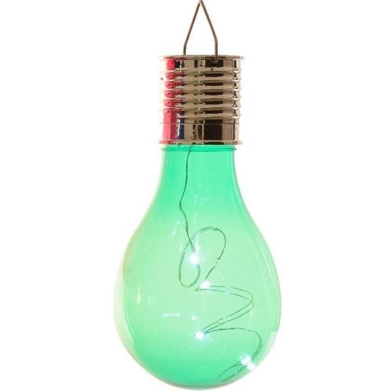 1x Buiten LED groen lampbolletje solar verlichting 14 cm
