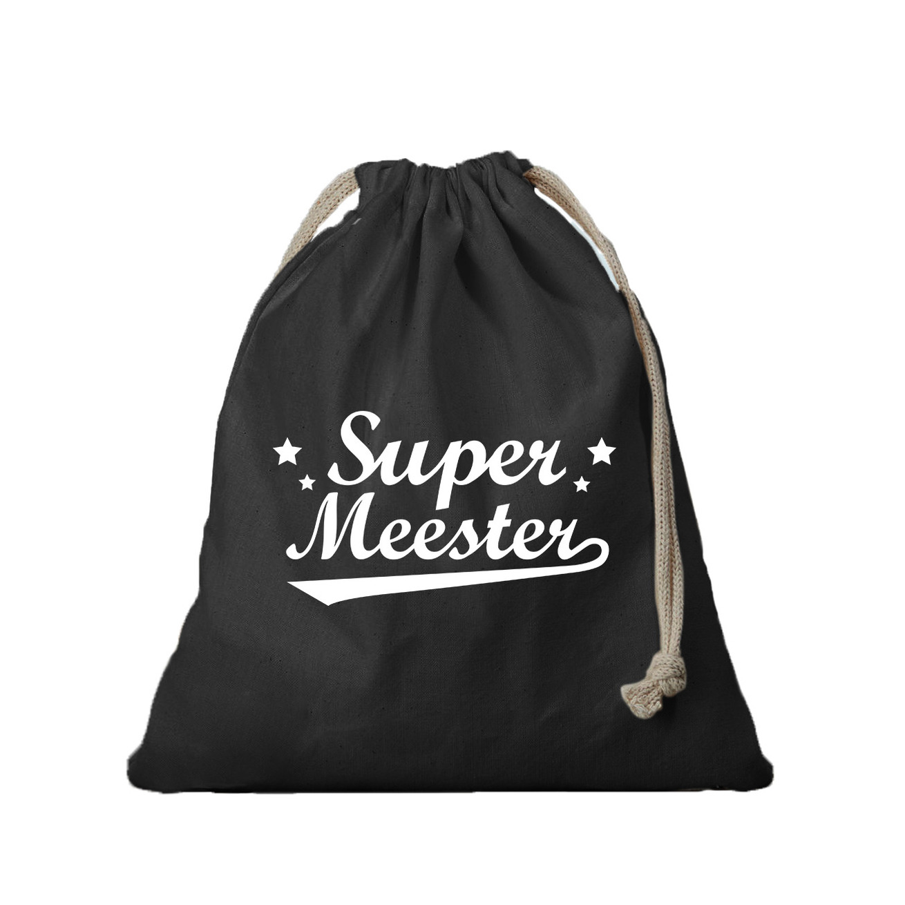 1x Canvas cadeautasje Super Meester zwart met koord 25 x 30 cm