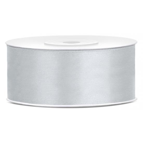 1x Hobby-decoratie zilver satijnen sierlint 2,5 cm-25 mm x 25 meter