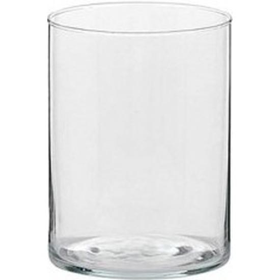 1x Hoge theelichthouder/waxinelichthouder van glas 5,5 x 6,5 cm