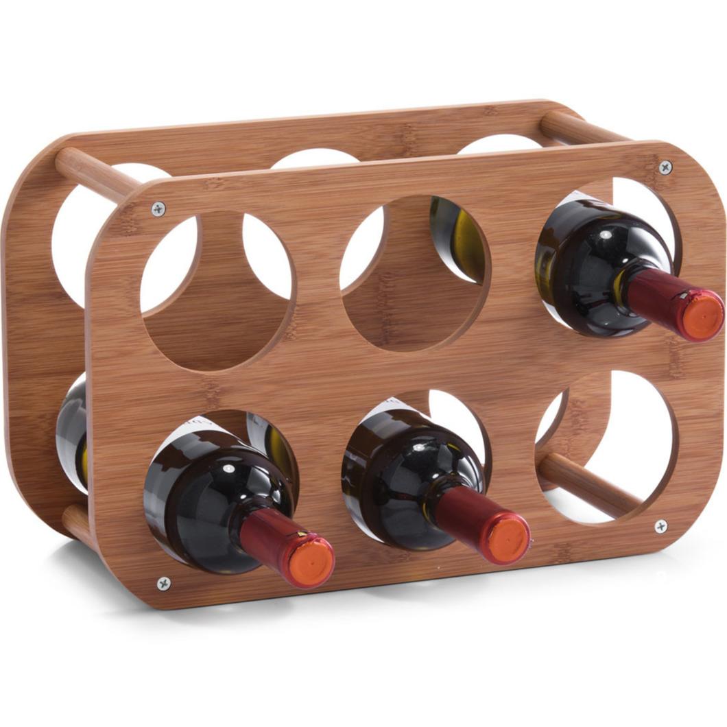 1x Houten wijnflessen rekken-wijnrekken compact voor 6 flessen 38 cm