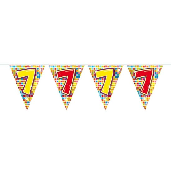 1x Mini vlaggenlijn - slinger verjaardag versiering 7 jaar