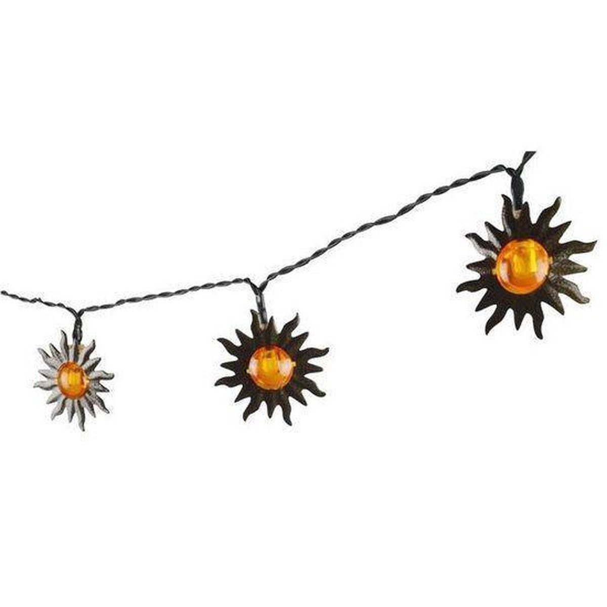1x Solar lichtslinger met zonnetjes op zonne-energie 365 cm tuinverlichting - Buitenverlichting
