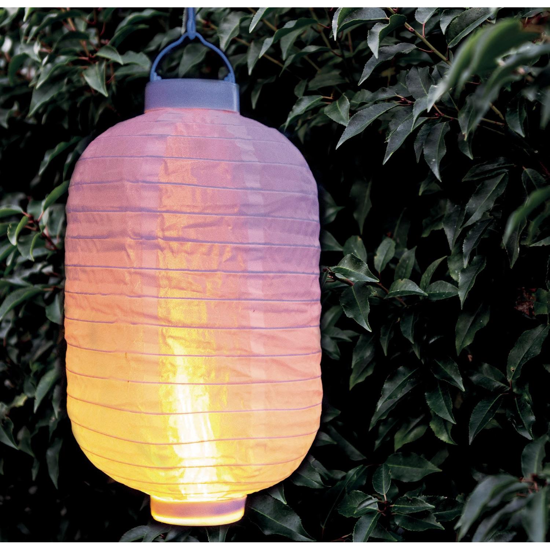 1x stuks luxe solar lampion/lampionnen wit met realistisch vlameffect 20 x 30 cm