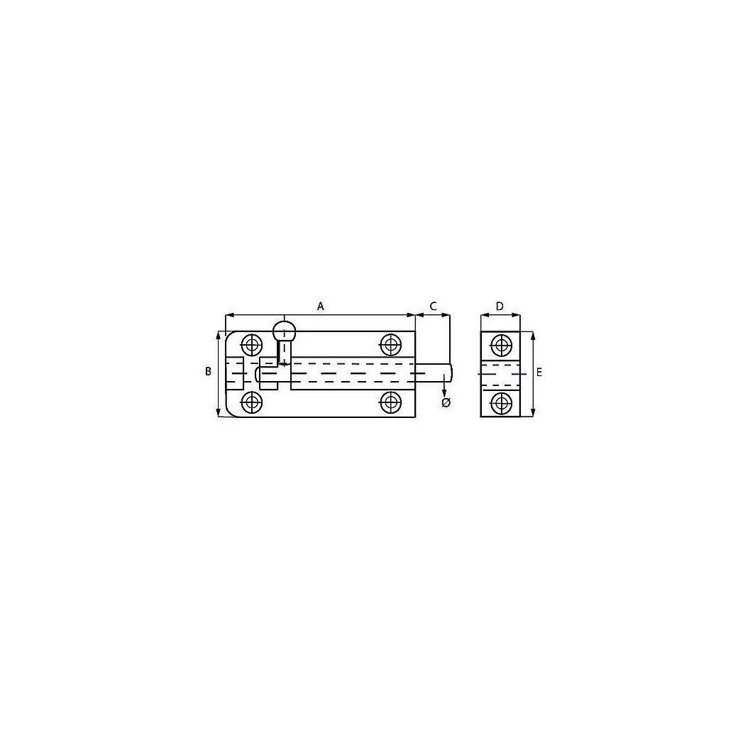 1x stuks profielgrendel - rolschuiven - heksluitingen messing verchroomd 7,6 x 2,5 cm