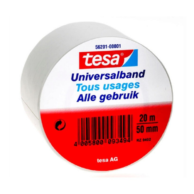 1x Tesa Universalband isolatietape wit 20 mtr x 5 cm klusbenodigdheden