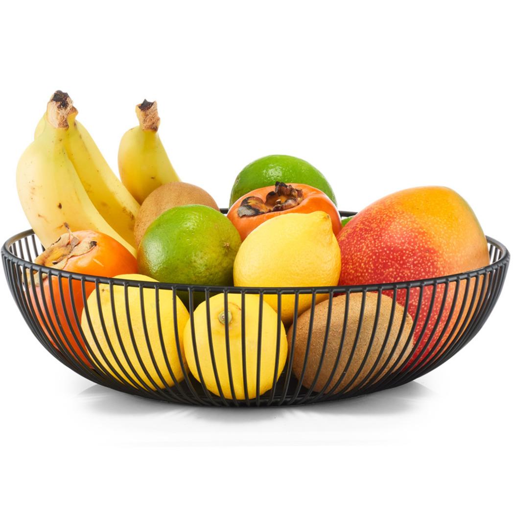 1x Zwarte ronde fruitschalen metaal 28 cm