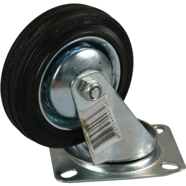 1x Zwenkwielen 200 mm rubber zwart