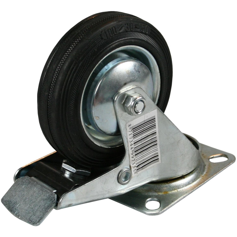 1x Zwenkwielen met rem 100 mm rubber zwart