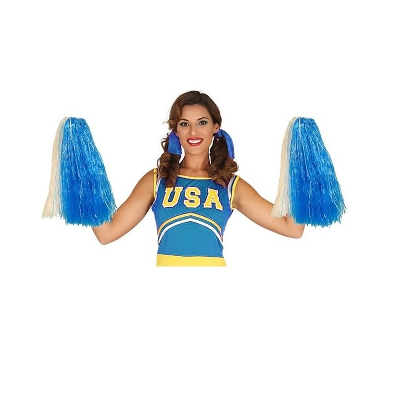 2 stuks Cheerballs blauw/wit 33 cm