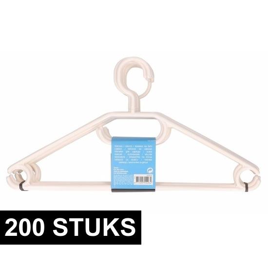 200x Plastic kledinghangers wit