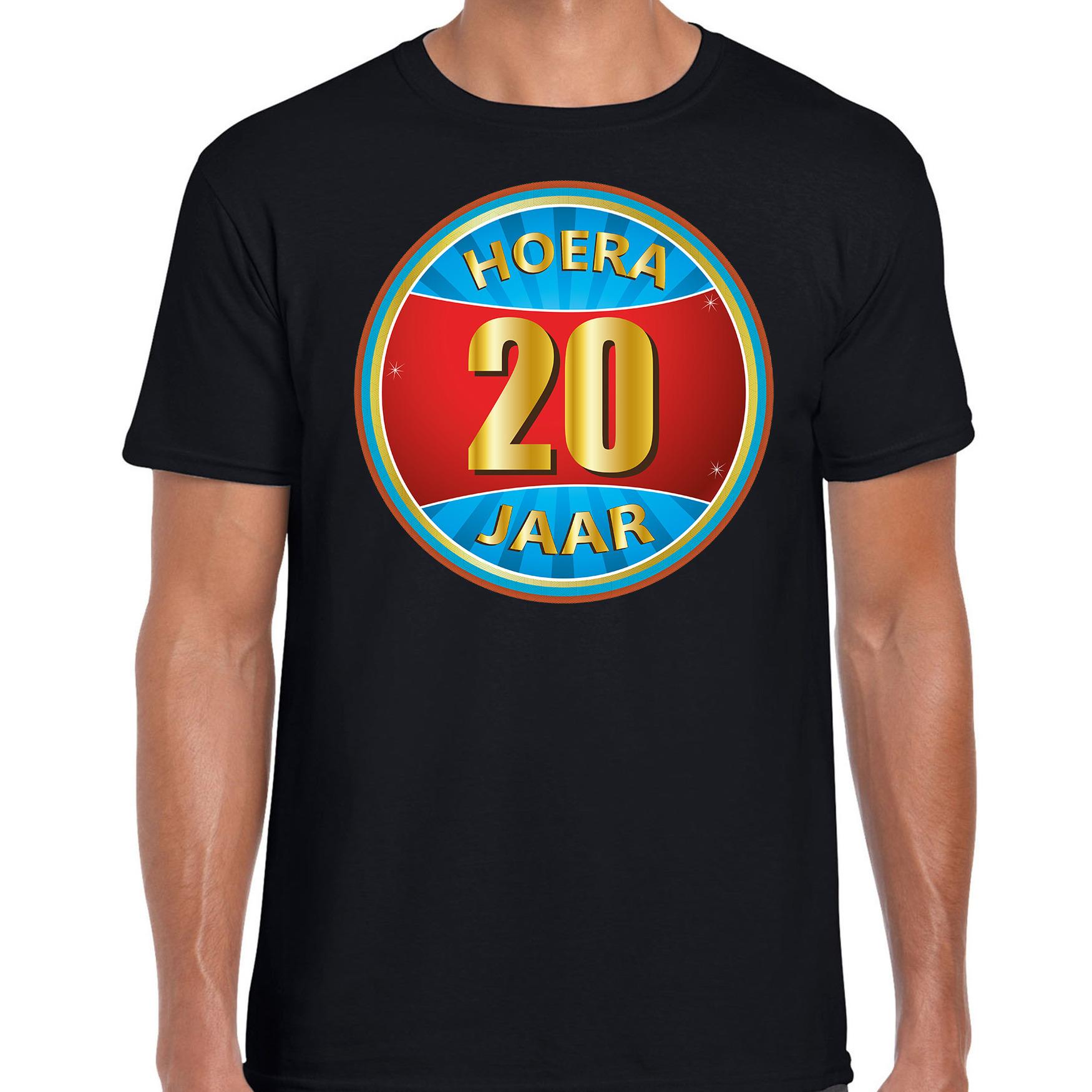 20e verjaardag cadeau t shirt hoera 20 jaar zwart voor heren