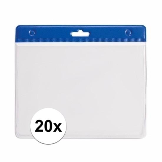 20x Badgehouder blauw 11,5 x 9,5 cm