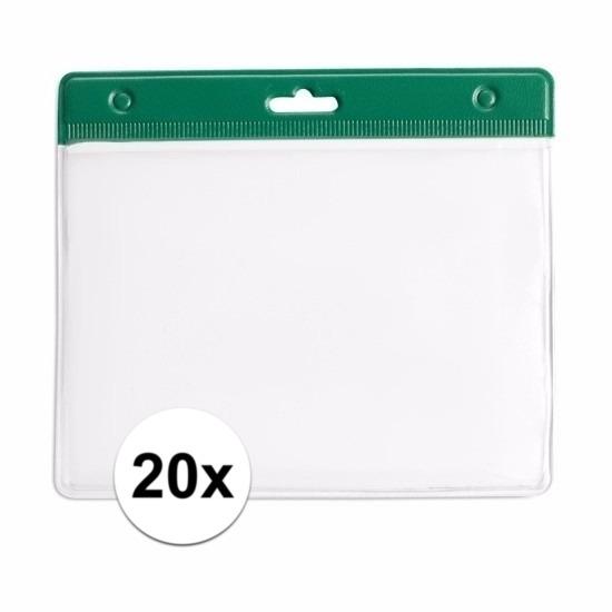 20x Badgehouder groen 11,5 x 9,5 cm