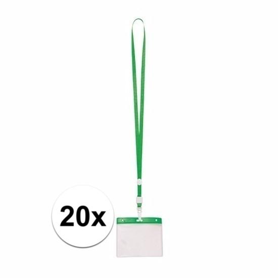 20x Badgehouder met groen keycord
