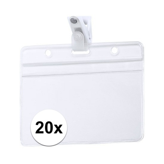 20x ID badgehouder met bevestigings clipje 11,5 x 9,2 cm