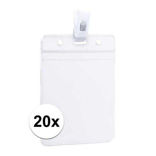 20x ID badgehouder met bevestigings clipje 8,5 x 12,2 cm