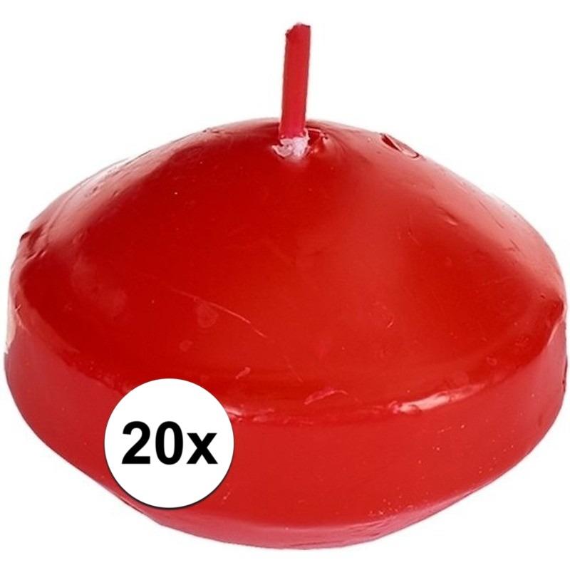 20x Rode drijfkaarsen 4,6 cm 4,5 branduren