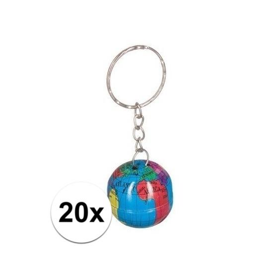20x Wereldbollen sleutelhangers blik