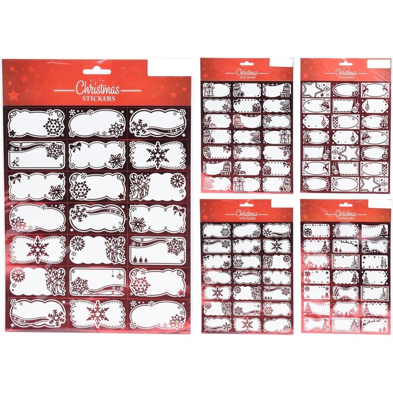 210x Kerst cadeau naamstickers-etiketten rood