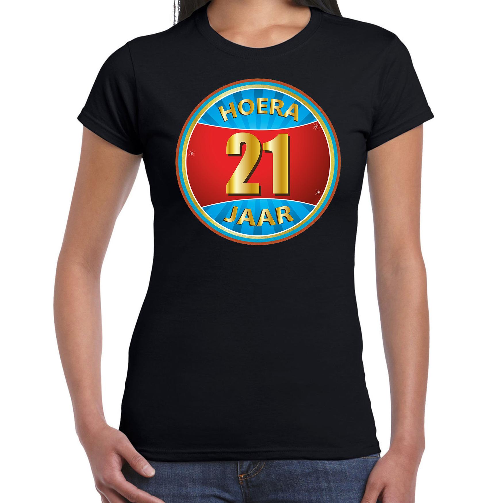 21e verjaardag cadeau t shirt hoera 21 jaar zwart voor dames