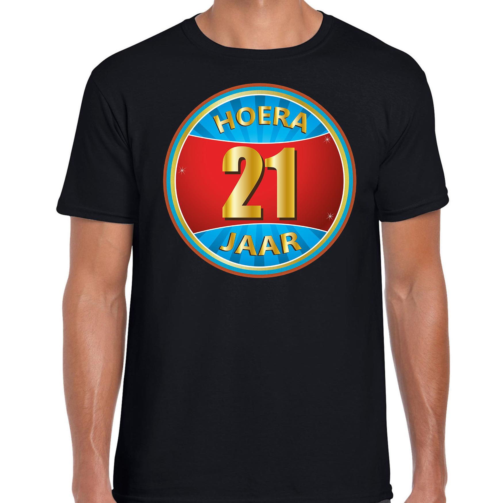 21e verjaardag cadeau t shirt hoera 21 jaar zwart voor heren