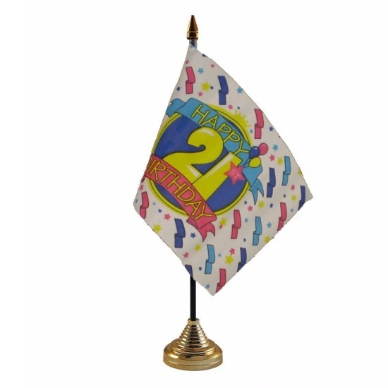 21ste verjaardag tafelvlaggetje 10 x 15 cm met standaard