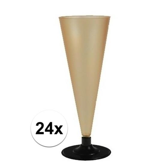 24 x Champagne glazen goudkleurig Goudkleurig