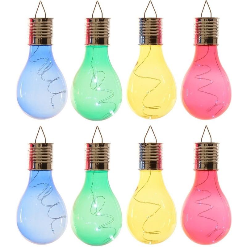24x Buiten LED blauw/groen/geel/rood peertjes solar lampen 14 cm