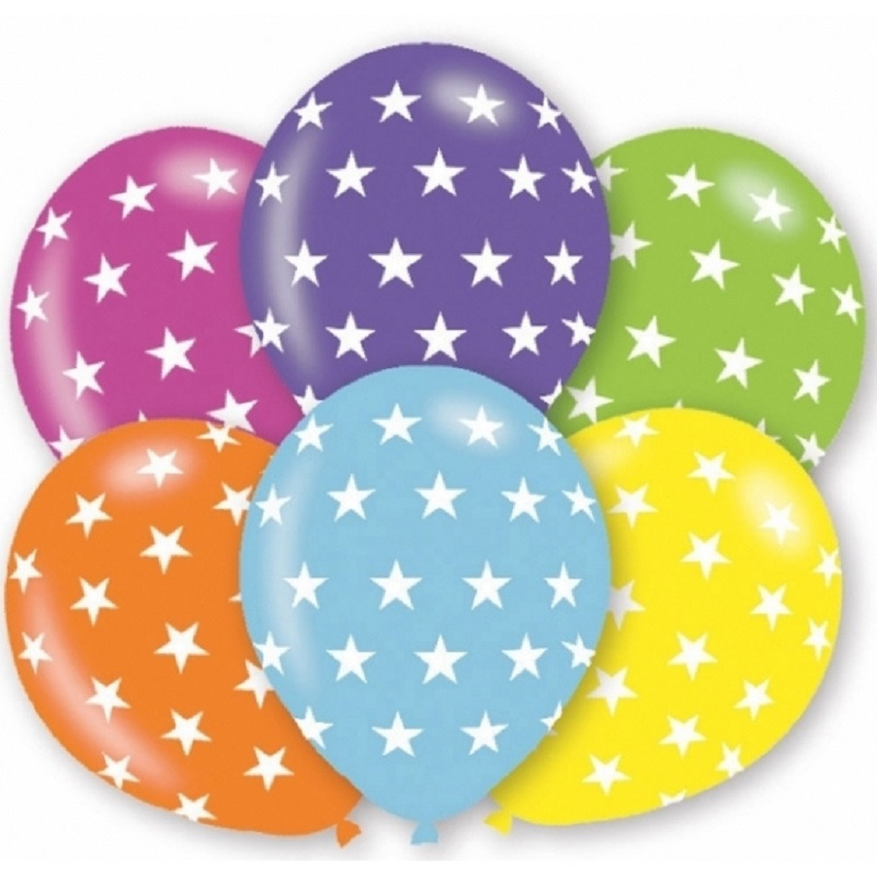 24x stuks verjaardag feest ballonnen met sterren print