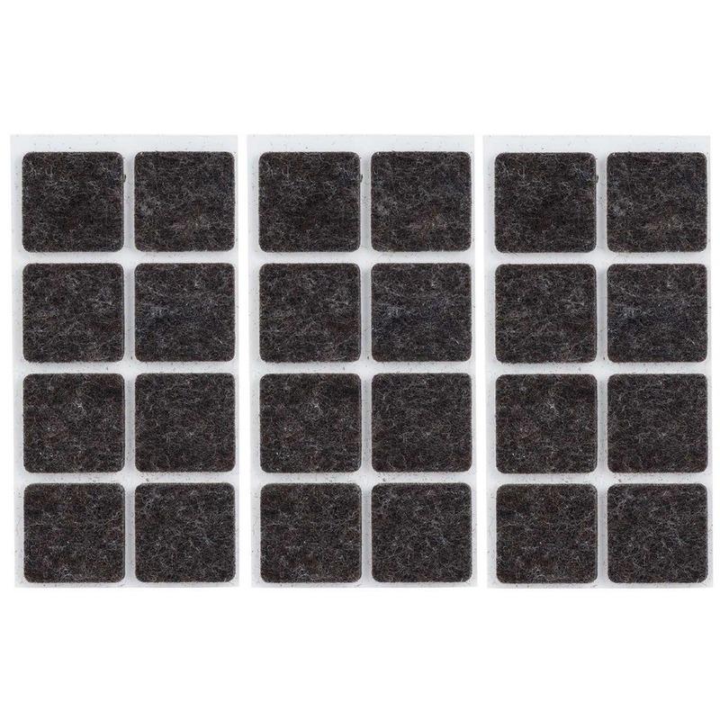 24x Zwarte vierkante meubelviltjes/antislip noppen 2,5 cm