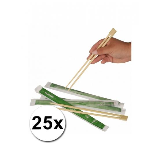 25 paar Eetstokjes van bamboe hout