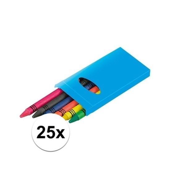 25x pakjes Waskrijtjes 6 stuks gekleurd