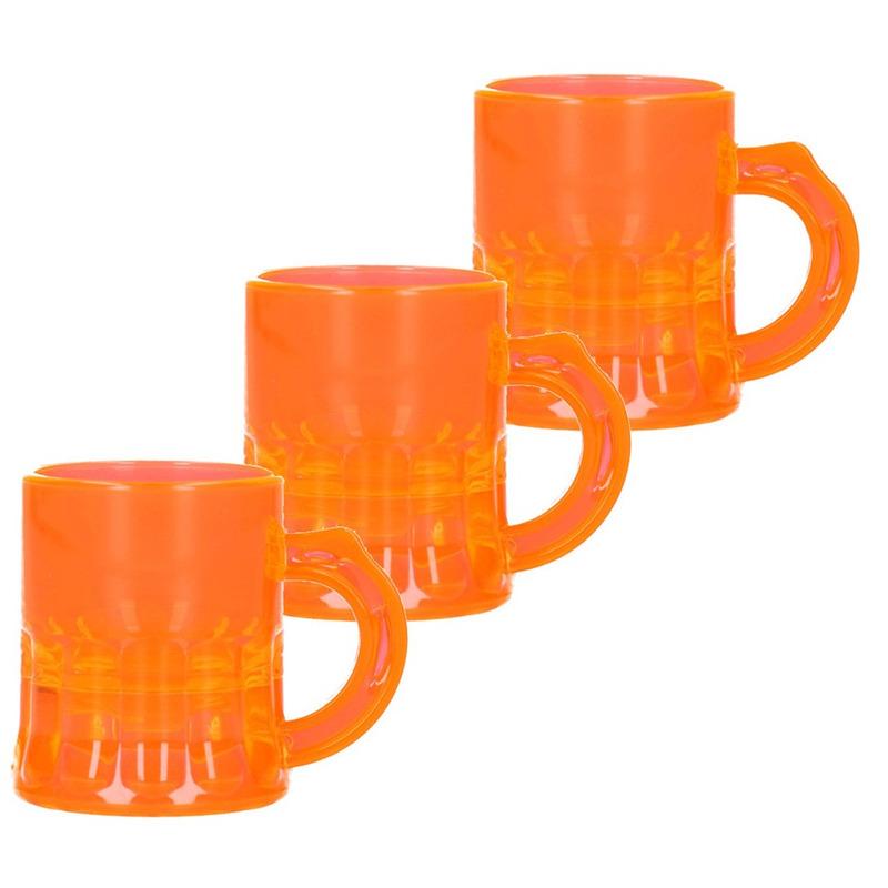 25x Shotglaasjes fluor oranje met handvat 2,5cl