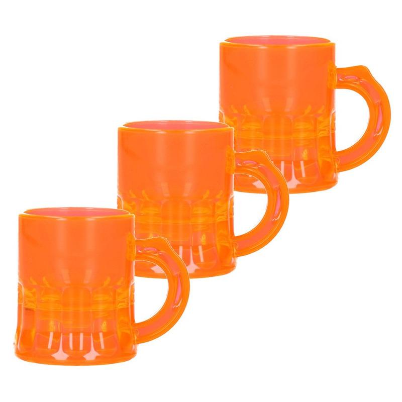 25x Shotglaasjes fluor oranje met handvat 2cl
