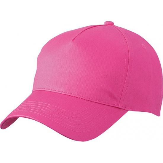 25x stuks 5-panel baseball petjes /caps in de kleur fuchsia roze